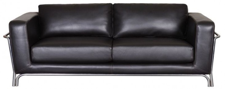 Perch Black Leather Sofa