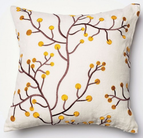 Blossom White and Gold Square Pillow
