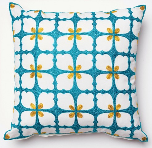 Rosy Blue and Green Floral Square Pillow