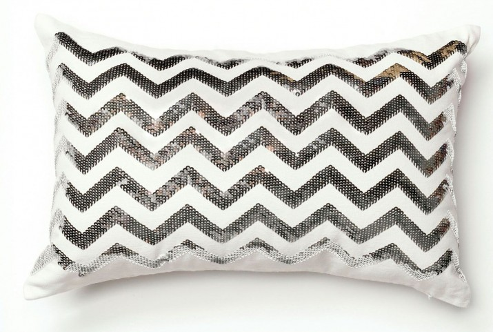 Alyssia Zig-Zag Silver and White Rectangular Pillow