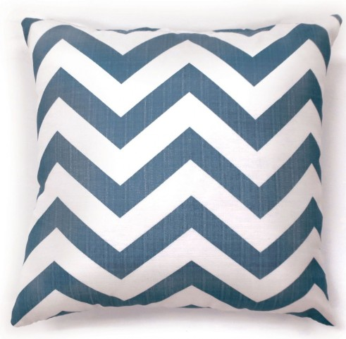 "Zoe Blue Chevron 22"" Pillow Set of 2"