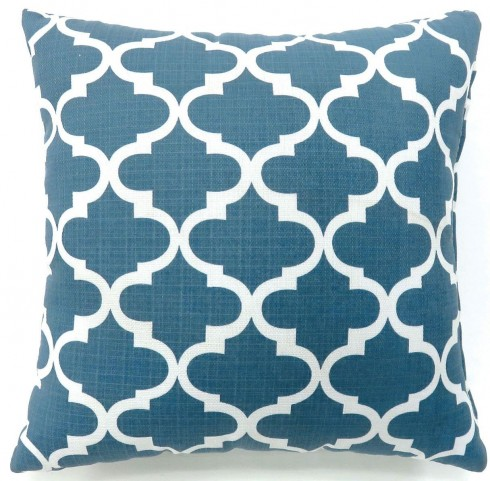 "Xia Blue Quatrefoil 18"" Pillow Set of 2"