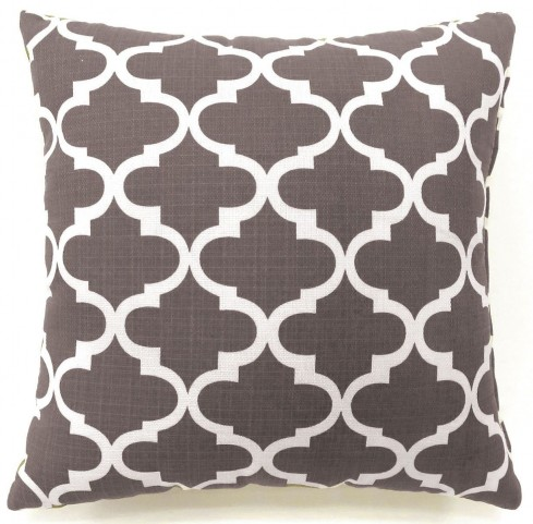 "Xia Gray Quatrefoil 22"" Pillow Set of 2"