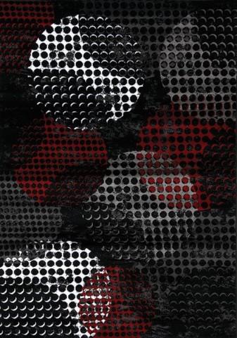 Platinum Industrial Red Black Crate Rug