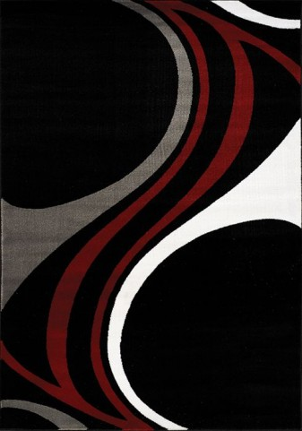 Platinum Black and Red and Grey Waves Medium Rug