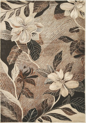 "Platinum Antiqued Copper Flowers 63"" Rug"