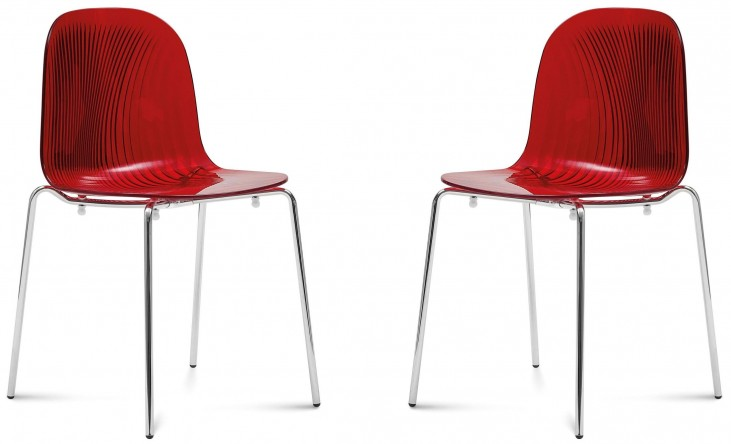 Playa Transparent Bordeaux Red Steel Stacking Chair Set of 2