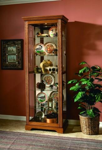 Golden Oak III Two Way Sliding Door Curio