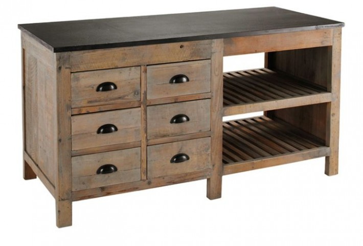 Portero Recycled Pine Kitchen Island