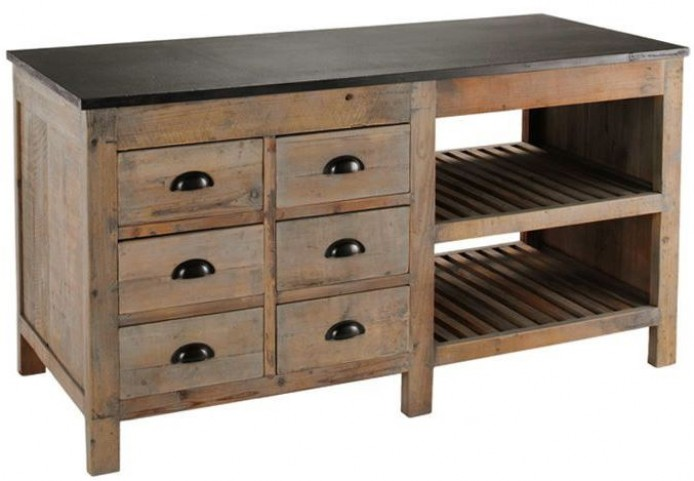 Portero Natural Pine Kitchen Island