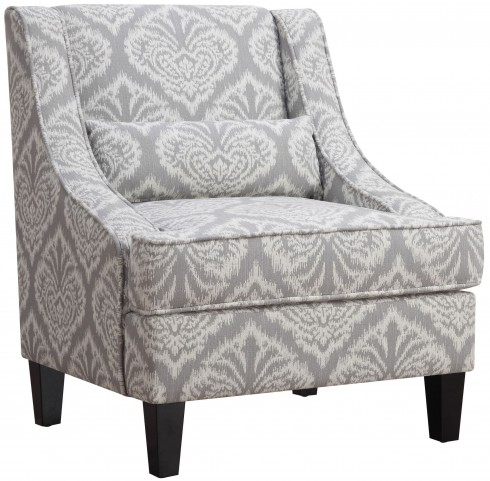 Grey and White Jacquard Accent Chair