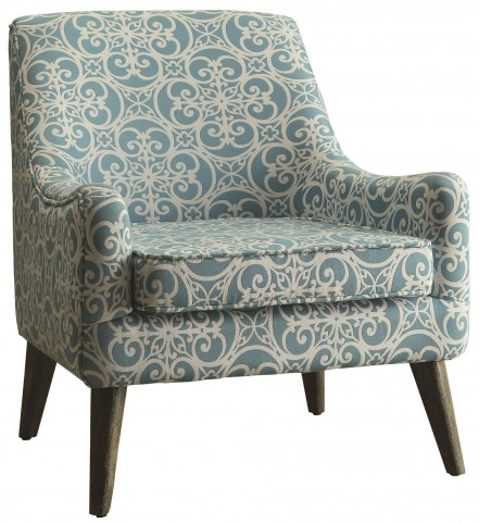 Blue and White Fabric Accent Chair