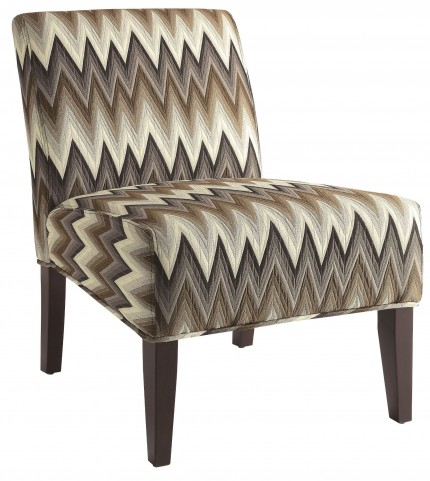 Brown Chevron Pattern Accent Chair