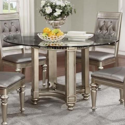 Danette Metallic Platinum Round Dining Table