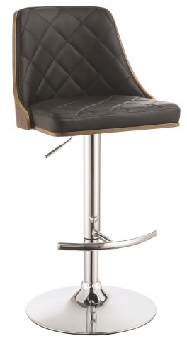Black Upholstered Adjustable Bar Stool