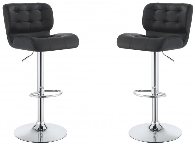 Black Adjustable Bar Stool Set of 2