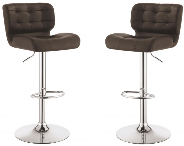 Brown Adjustable Bar Stool Set of 2