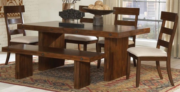 Montague Rustic Brown Rectangular Dining Room Set