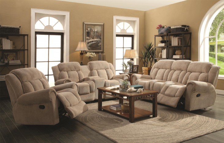 Reige Motion Taupe Reclining Living Room Set