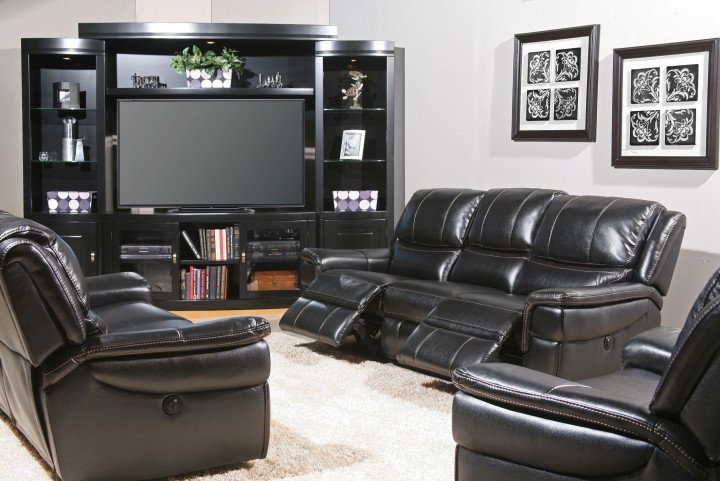 Python Black Dual Power Living Room Set