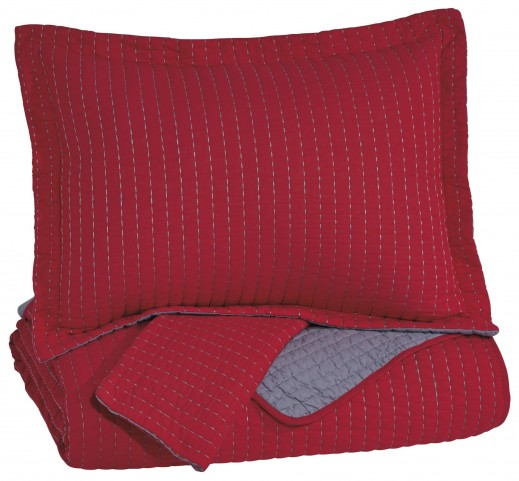 Dansby Red and Gray Full Coverlet Set