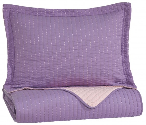 Dansby Lavender and Pink Twin Coverlet Set