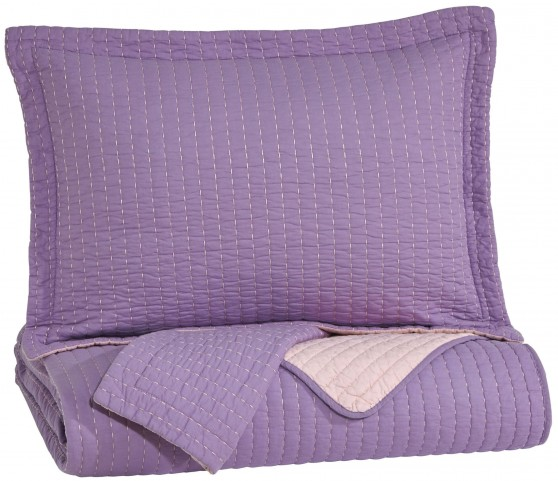 Dansby Lavender and Pink Full Coverlet Set