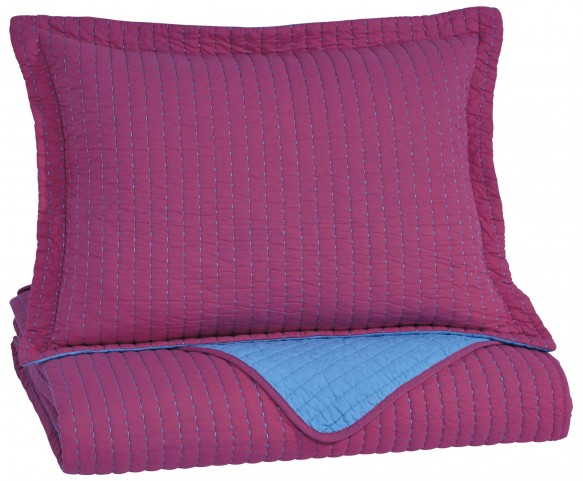 Dansby Magenta and Aqua Twin Coverlet Set