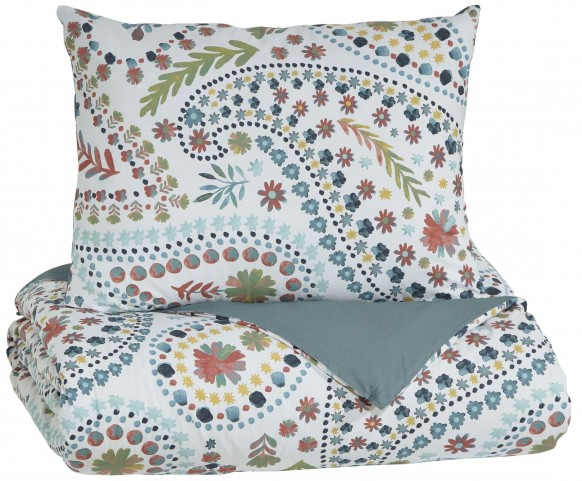 Danniell Aqua and Orange Twin Comforter Set