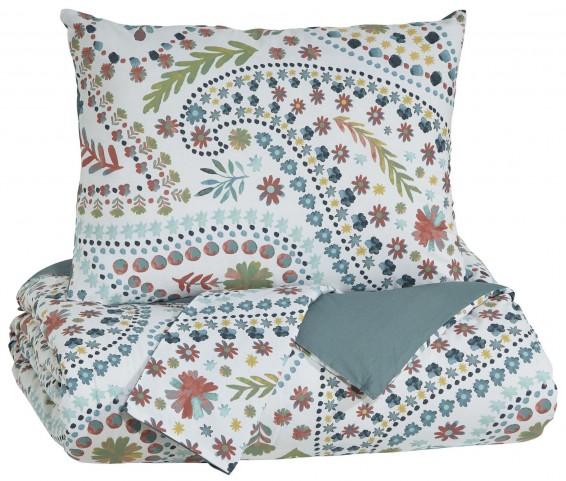 Danniell Aqua and Orange Full Comforter Set
