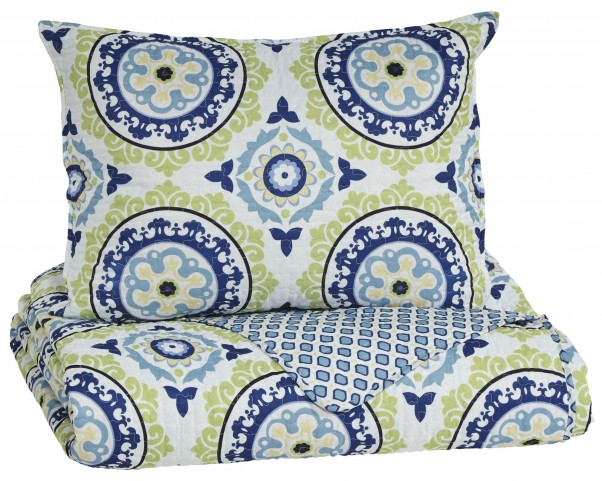 Danesha Blue and Green Twin Coverlet Set