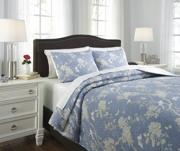Damita Blue and Beige King Quilt Set