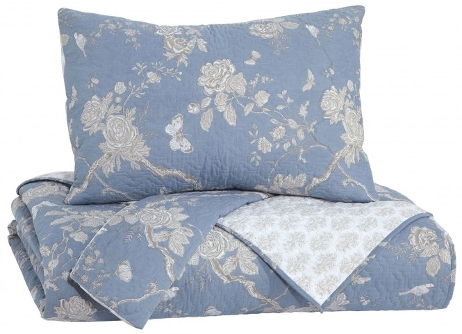 Damita Blue and Beige Queen Quilt Set