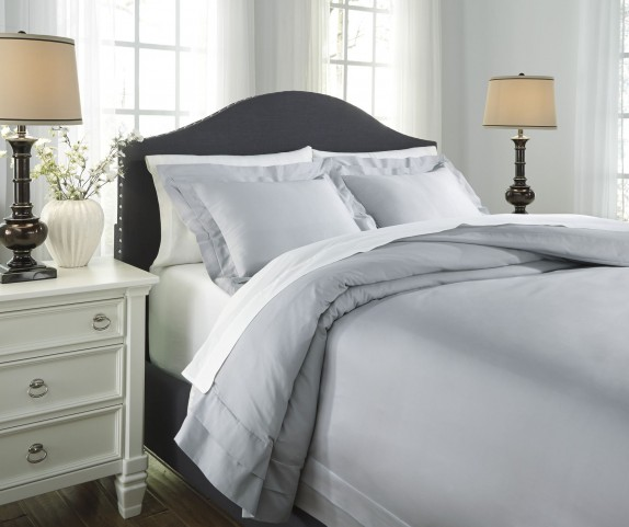 Chamness Gray King Duvet Cover Set