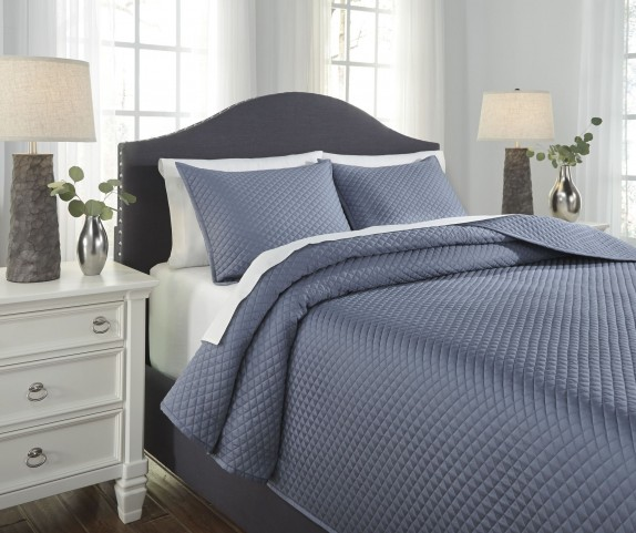 Dietrick Blue Queen Quilt Set
