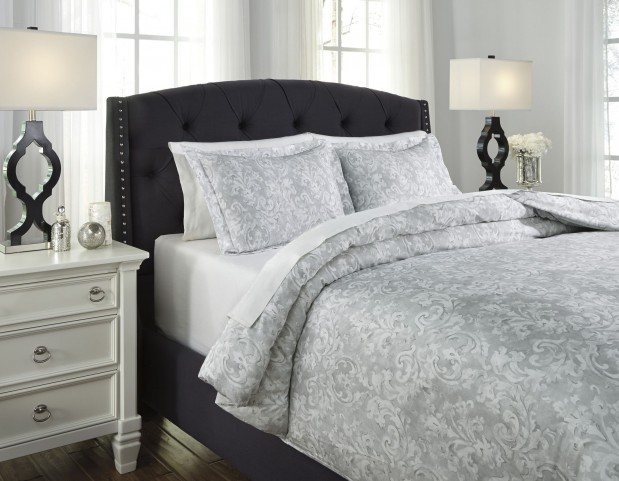 Danlyah Gray King Duvet Cover Set