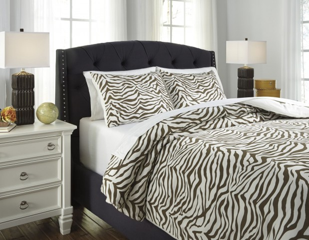 Hyun Beige and Brown Queen Duvet Cover Set