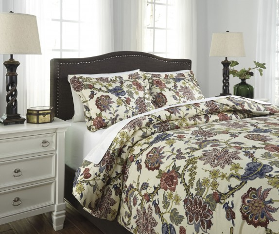 Dameka Floral Queen Duvet Cover Set