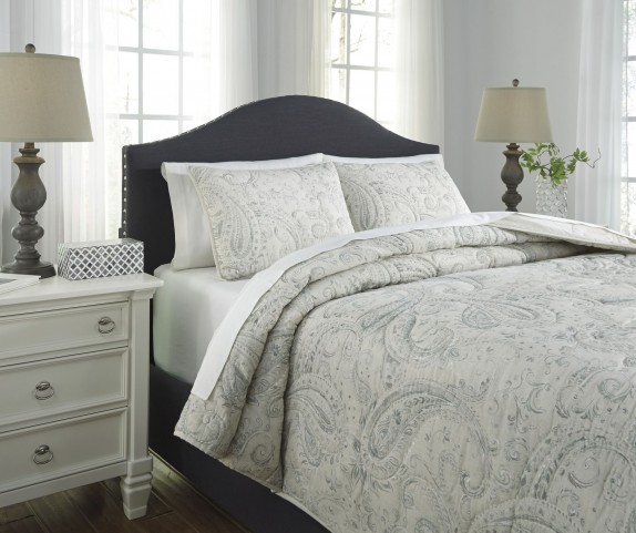 Darcila Sage Green and Cream Queen Coverlet Set