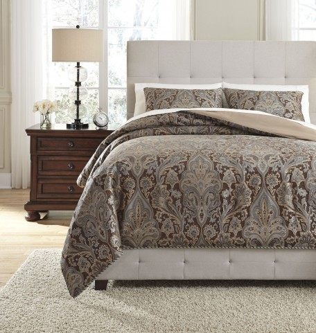 Asali Chocolate and Blue Queen Comforter Set