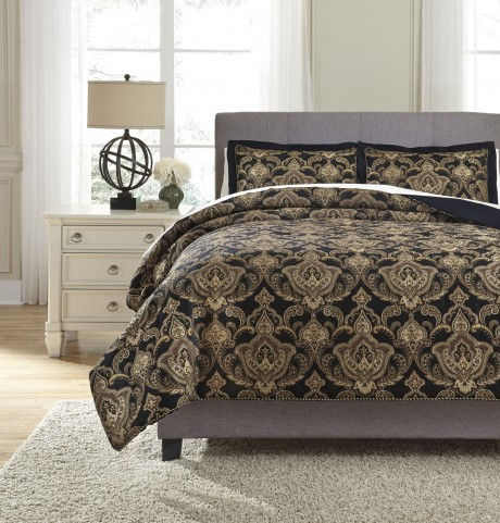 Amberlin Onyx and Gold King Comforter Set