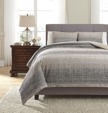 Arturo Natural and Charcoal Queen Duvet Cover Set