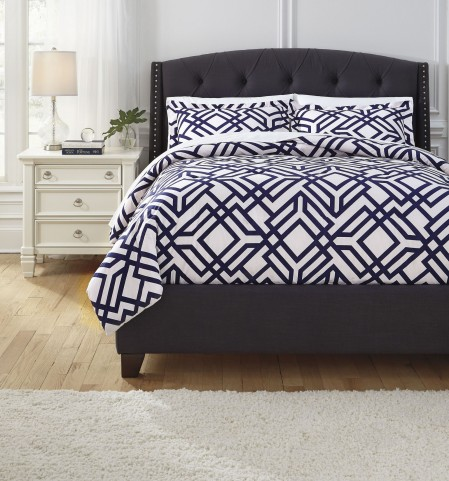 Imelda Navy Queen Comforter Set