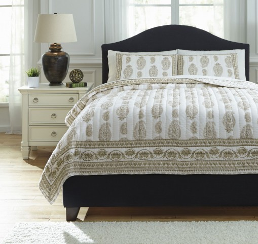 Almeda Beige King Coverlet Set
