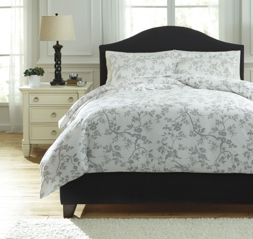 Florina Gray and White Queen Duvet Cover Set
