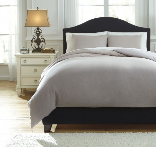 Bergden Light Gray Queen Duvet Cover Set