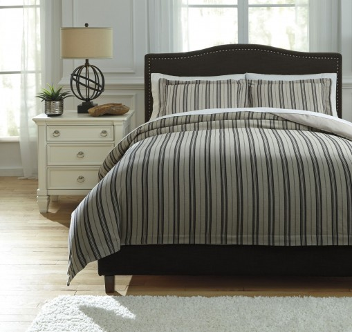 Navarre Black and Natural King Duvet Cover Set