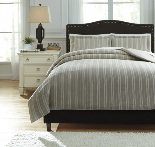 Navarre White and Natural Queen Duvet Cover Set