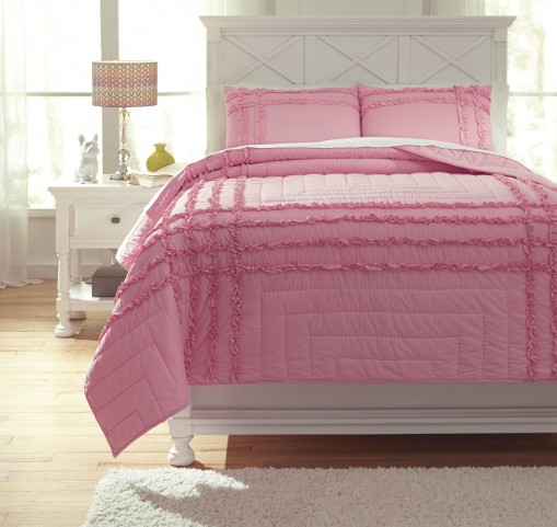 Megara Pink Twin Quilt Set