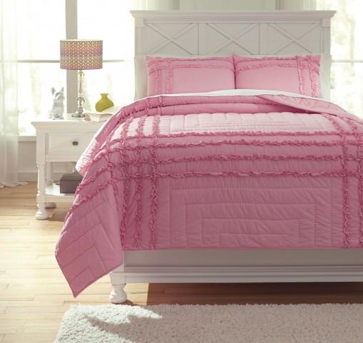 Megara Pink Full Quilt Set